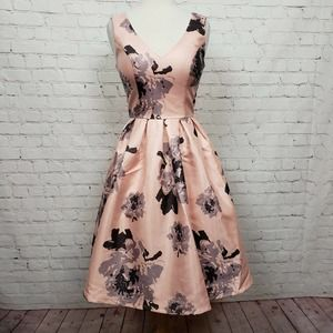 Chi Chi London V-Neck Floral Fit & Flare Dress NWT